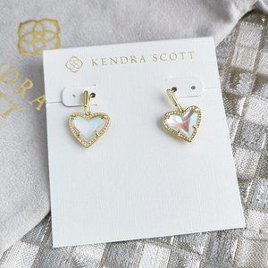 Ari Heart Drop Earrings   Gold   Dichroic Glass